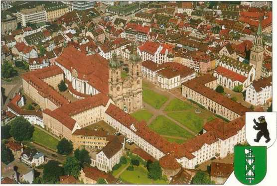 From above. In 1983 the Abbey of St. Gallen Cathedral and Library became a UNESCO World Heritage Site.
