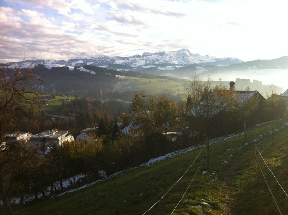 Day hiking in Switzerland after the first snow = muddy.  Walking through the cow pastures = interesting smells.  View of the Alps = priceless